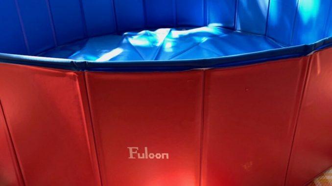 """Hundepool außen rot mit Schriftzug """"Fuloon"""" innen blau ungefüllt"""
