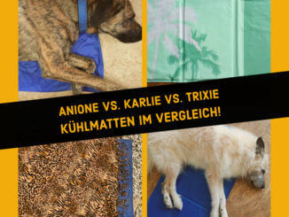 """Collage aus vier Bildern mit Kühlmatten für Hunde und dem Text """"Kühlmatten im Vergleich"""""""